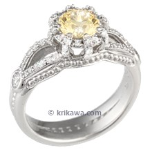 Micro Pave Crown Engagement Ring with Yellow Sapphire