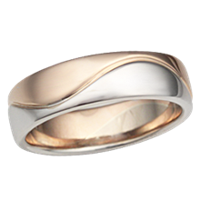 Two Tone Wave Wedding Band in Rose Gold