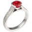 Mokume Cathedral Engagement Ring with Lab-Grown Ruby