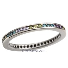 Diamond Channel Brilliant Eternity Wedding Band with Green Diamonds and Alexandrite