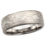 White Mokume Wedding Band, 7mm