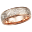 White Mokume Wedding Band, Rose Gold, 6mm