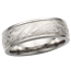White Mokume Wedding Band with Raised Rails, 7mm
