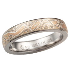 Champagne Mokume Wedding Band, Palladium, 4mm