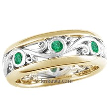 Carved Curls Wedding Band with Yellow Gold Rails and Emeralds