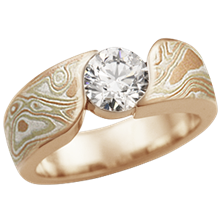 Autumn Mokume Wave Engagement Ring