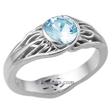 Tree of Life Engagement Ring with Roots & Aquamarine