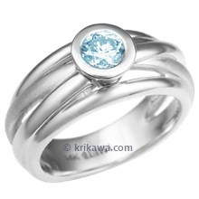 Saturn Engagement Ring with Aquamarine