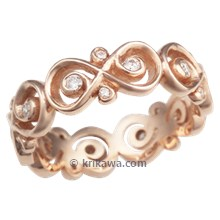 Rose Gold Ornate Infinity Wedding Band with Diamonds