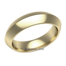 Yellow Gold Plain Wedding Band Knife Edge Wide