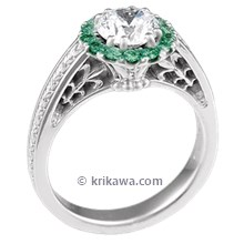 Vintage Garden Fountain Engagement Ring with Emeralds
