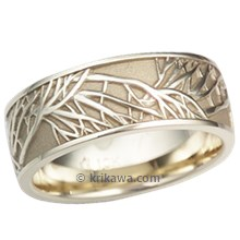 Green Gold Tree of Life Wedding Band