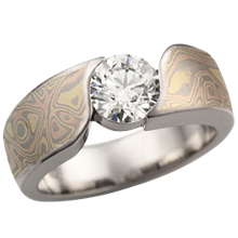Trigold Mokume Wave Engagement Ring