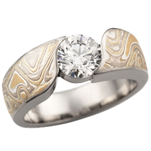 Summer Mokume Wave Engagement Ring