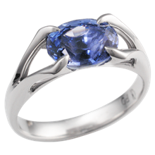 Carved Branch Engagement Ring with Oval Blue Sapphire