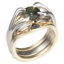 Carved Branch Green Sapphire Engagement Ring With Gold Enhancer