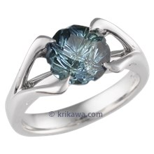 Carved Branch Engagement Ring With Medicine Wheel Blue Sapphire