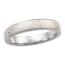 Matte Champagne Mokume Wedding Band