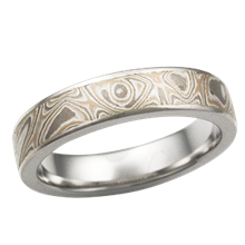 4mm Champagne Mokume Wedding Band