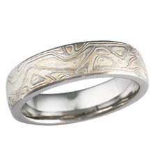 Light Etched Champagne Mokume Wedding Band
