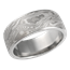 Wide White Mokume Wedding Band