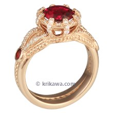 Micro Pave Crown Engagement Ring with Garnet
