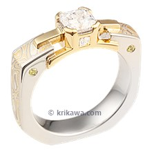 Summer Mokume Mokume Falling Water Engagement Ring With Yellow Gold