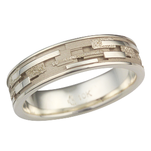 Klimt Wedding Band with Green Gold