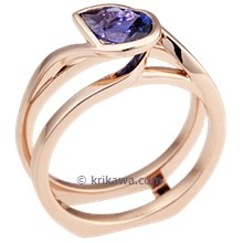 Pear Swirl Scaffold Engagement Ring with Blue Sapphire