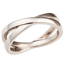 White Gold Crossover Layered Wedding Band