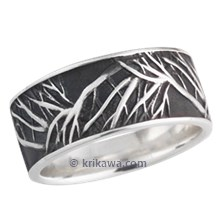 Darkened Tree of Life Wedding Band