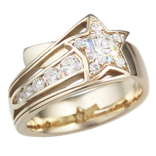 Yellow Gold Shooting Star Engagement Ring