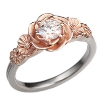 Rose Poppy Daisy Two-Tone Engagement Ring