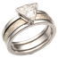 Modern Scaffolding Engagement Ring and Champagne Mokume Wedding Band