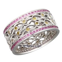Platinum Double Delicate Leaf Diamond Eternity Wedding Band