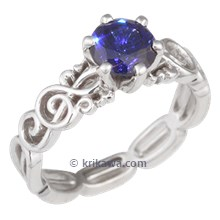 Harmony Treble Clef Engagement Ring with Sapphire