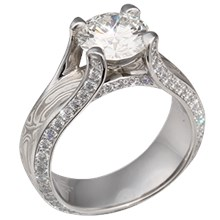 White Mokume Juicy Cathedral Engagement Ring