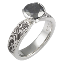 Black & White Mokume Solitaire Tapered Engagement Ring