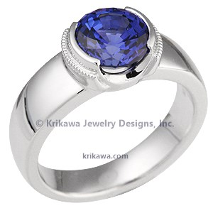 Modern Millegrain Engagement Ring with Sapphire