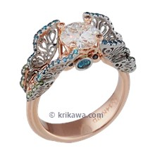 Rose Gold Butterfly Fishtail Pave Engagement Ring