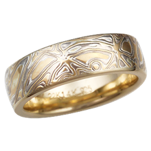6mm Summer Mokume Wedding Band