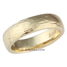 Yellow Gold Long Hammered Wedding Band