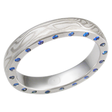 White Mokume Band with Sapphires