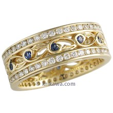 Yellow Gold Double Delicate Leaf Diamond Eternity Wedding Band