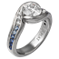 Carved Wave Engagement Ring with Tapering Sapphires to White Diamonds