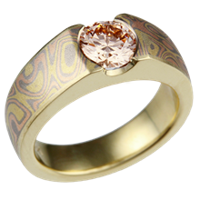 Mokume Flush Stone Solitaire with Light Pink Diamond