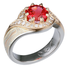 Pave Swirl Mokume Engagement Ring with Padparadscha Sapphire