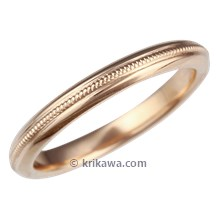 Narrow Single Milgrained Wedding Band in Rose Gold