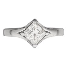 Solitaire Engagement Ring Princess Cut Split Cathedral Princess Cut - top view