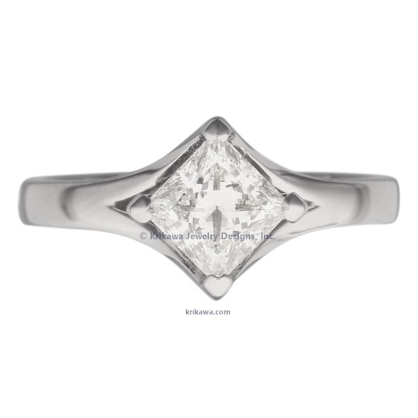 Solitaire Engagement Ring Princess Cut Split Cathedral Princess Cut